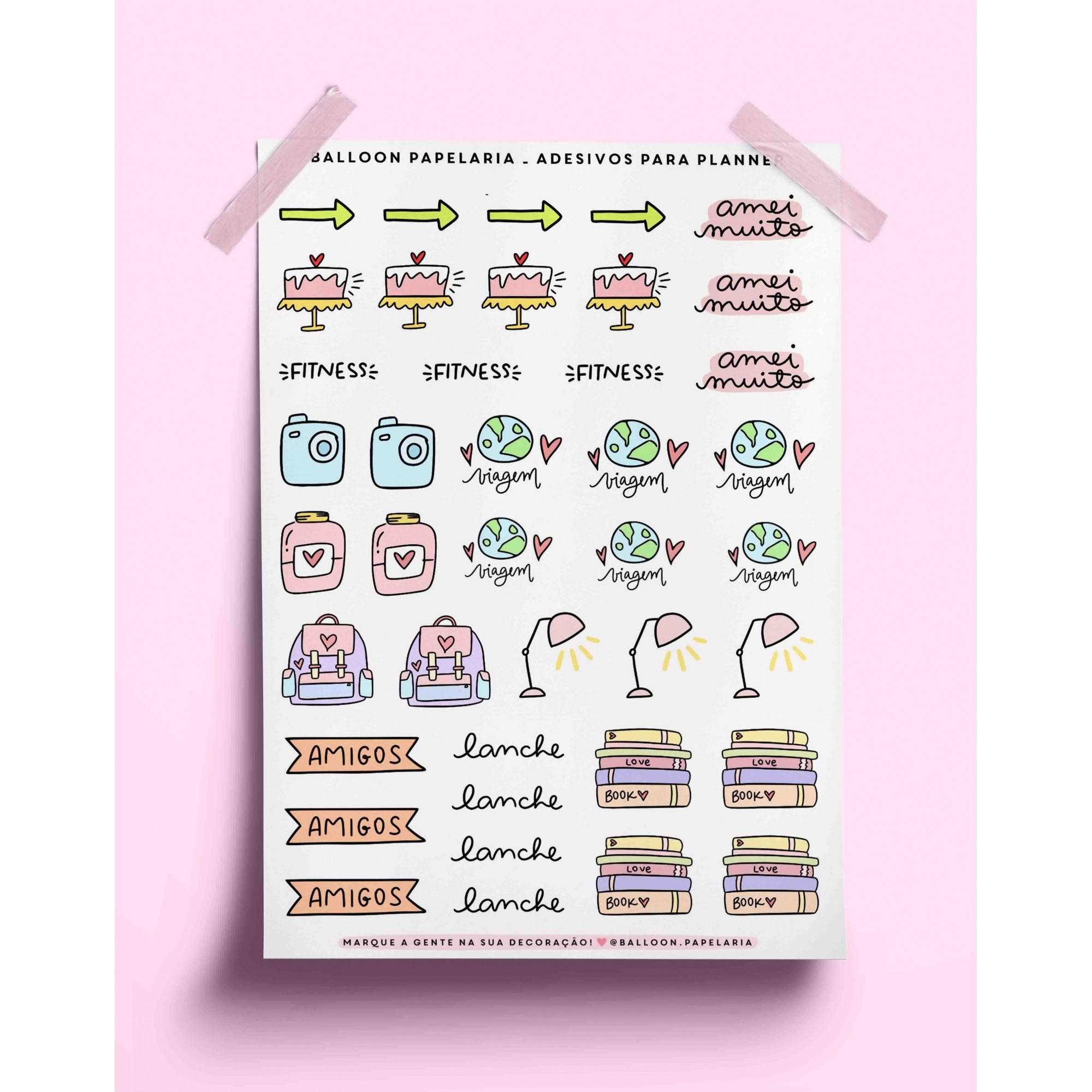 Adesivo para planner - ícones variados 03