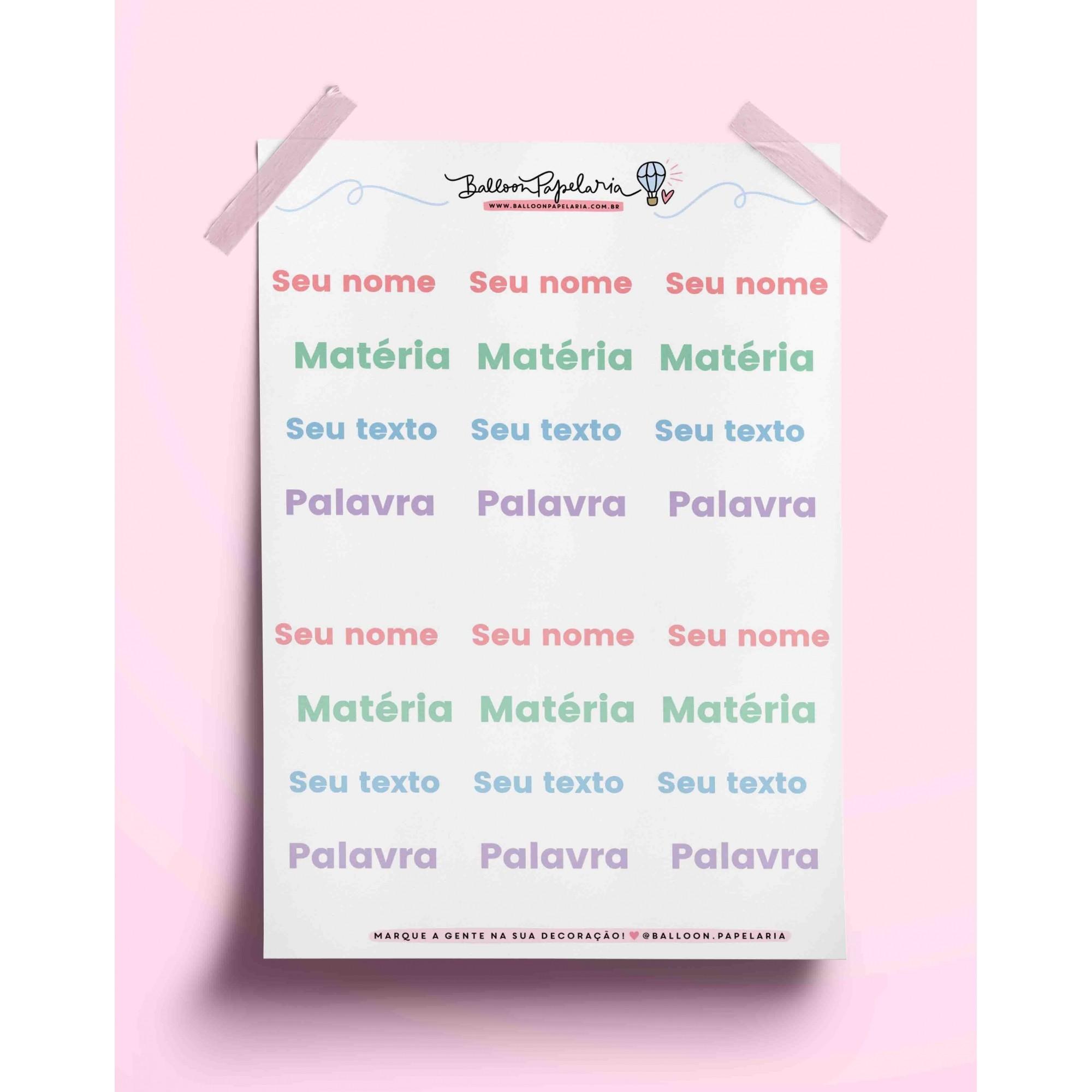 Adesivo personalizado - tons pastel
