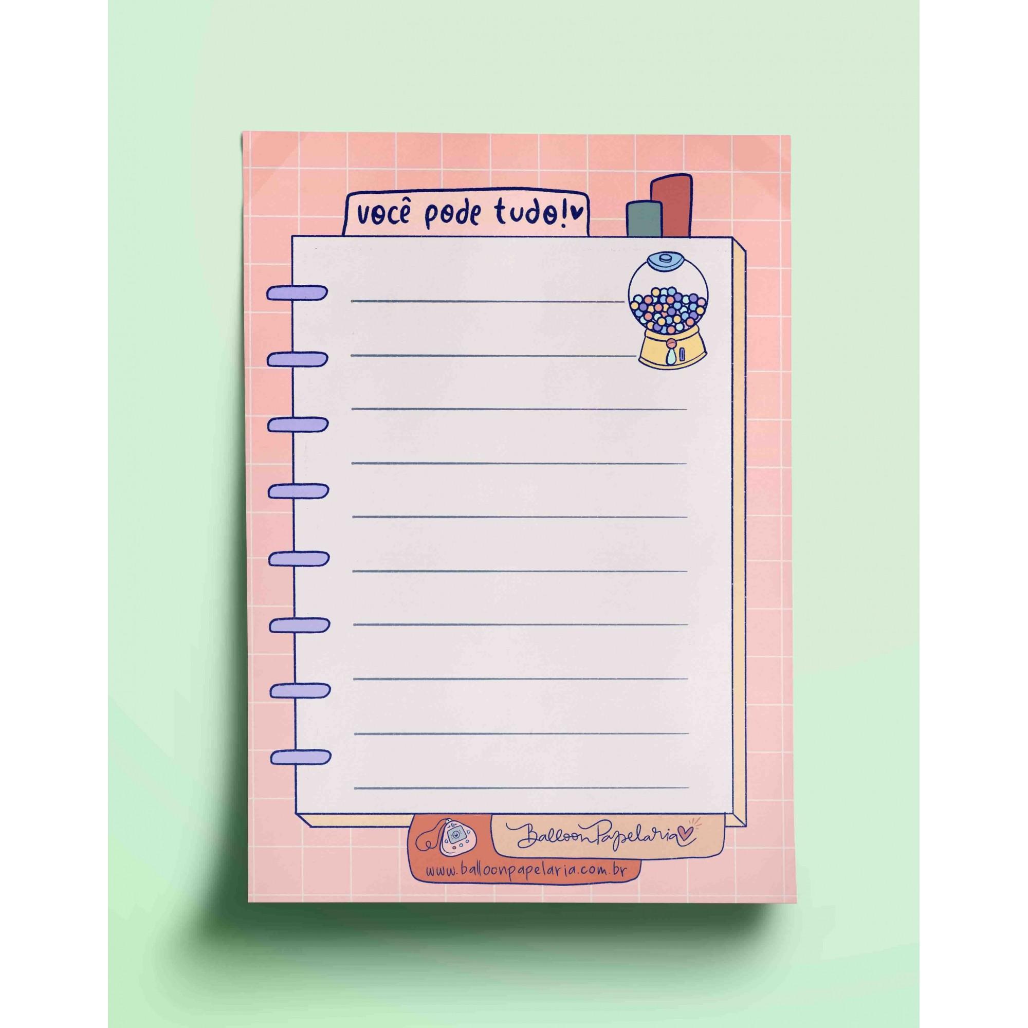 Bloco anotações - você pode tudo