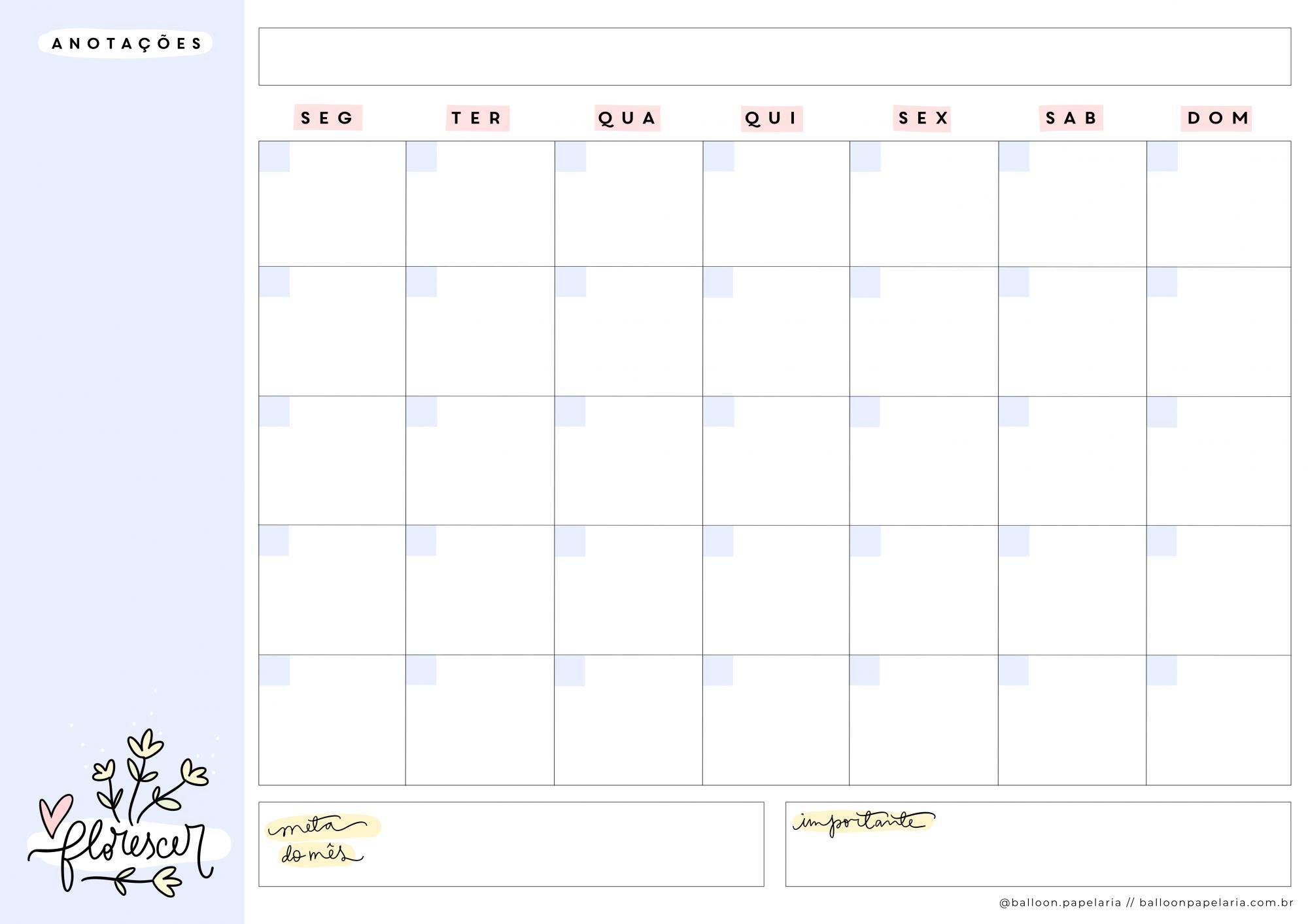 Bloco mensal - desk planner A5
