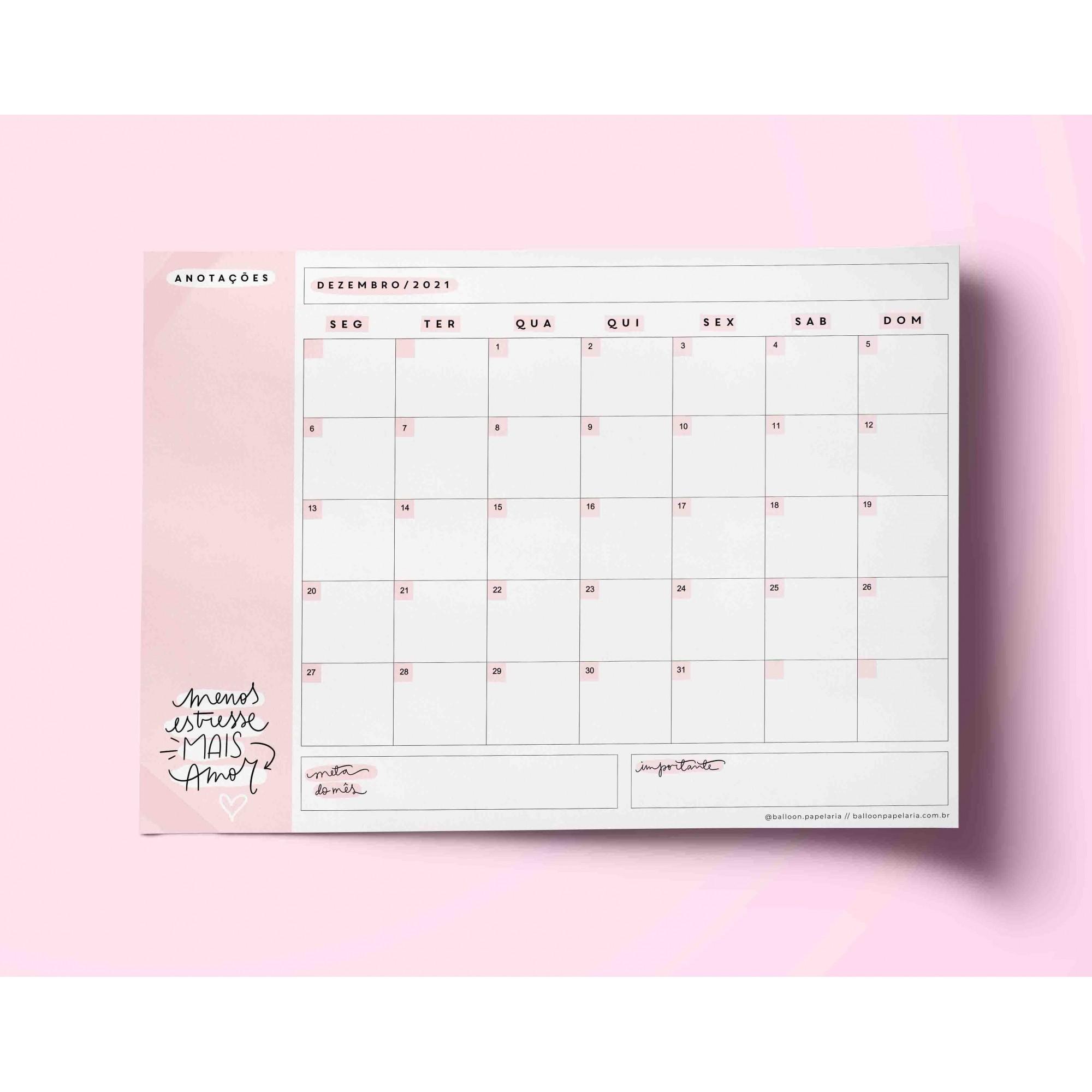 Bloco mensal - desk planner
