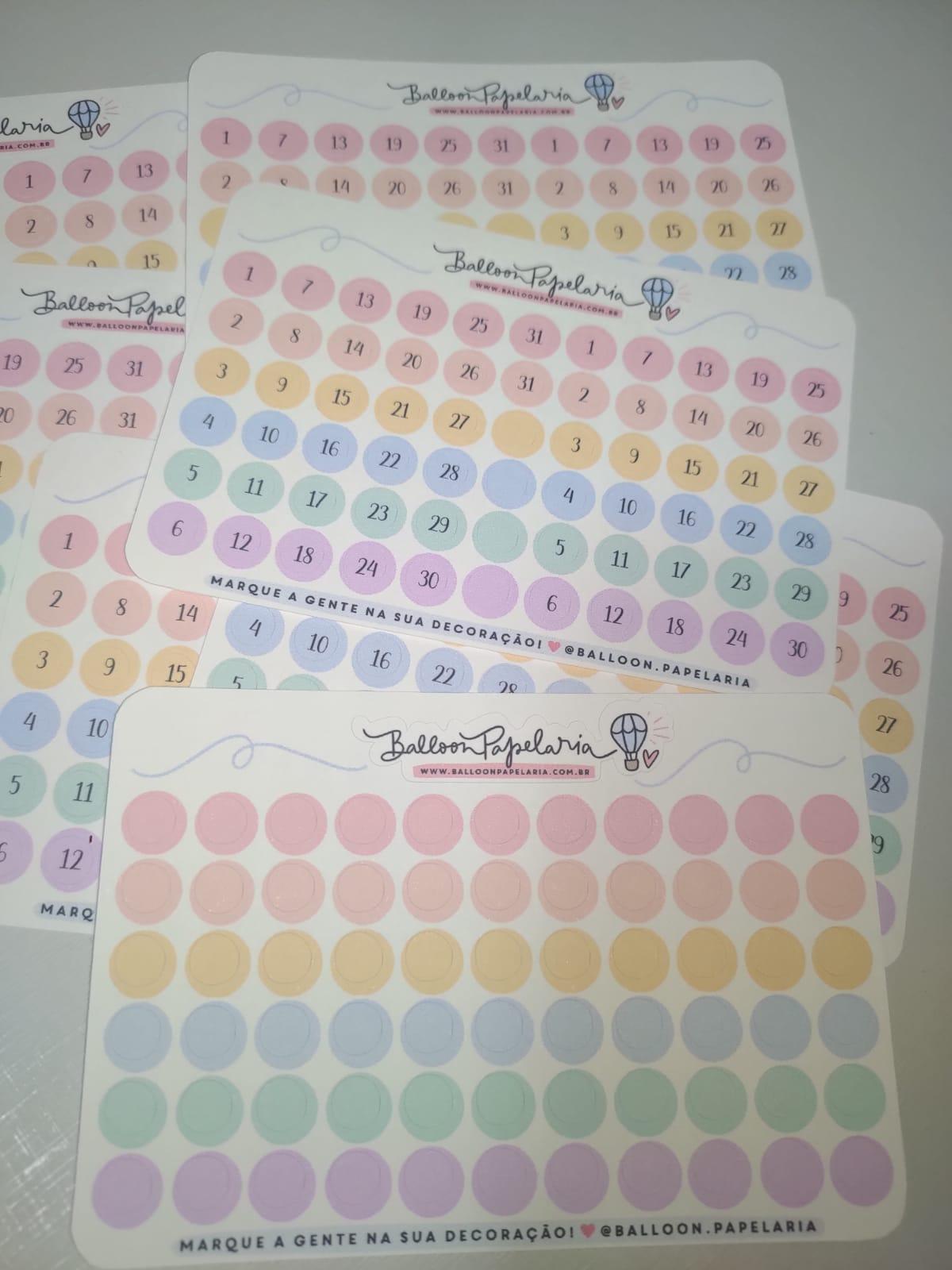 Kit planner - 8 mini cartelas números e dots