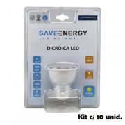 KIT COM 10 LÂMPADAS DICROICA 4,8W SAVE ENERGY