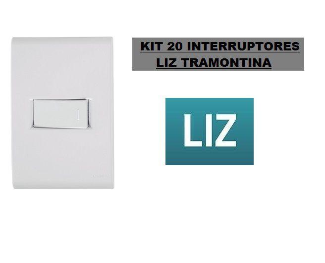 20 CONJUNTOS PLACAS COM INTERRUPTORES TRAMONTINA LIZ 4X2