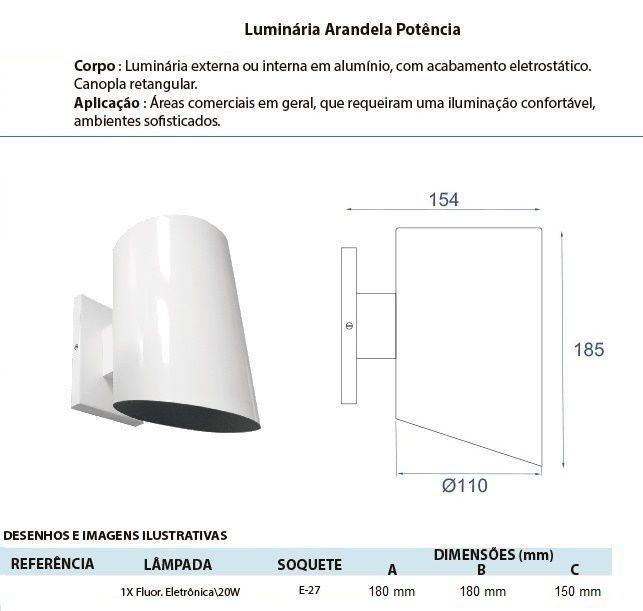ARANDELA TUBO EM ALUMÍNIO BIVOLT