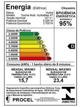 CHUVEIRO ELÉTRICO HYDRA MAX 4 TEMPERATURAS 5500W 127V