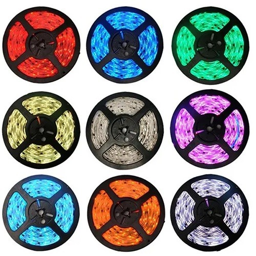 FITA LED RGB 5050 5 METROS IP65 COM CONTROLE E FONTE