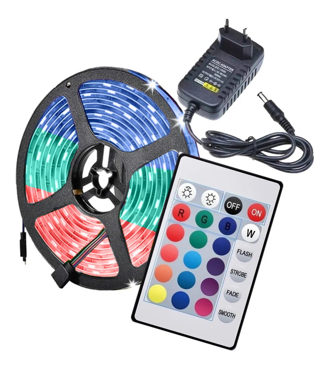 FITA LED RGB 5 METROS 3528 IP65 COM FONTE E CONTROLE