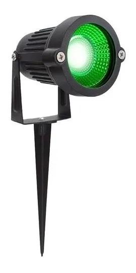 KIT 03 ESPETOS JARDIM LED REFLETOR LUMINÁRIA 7W IP66 VERDE