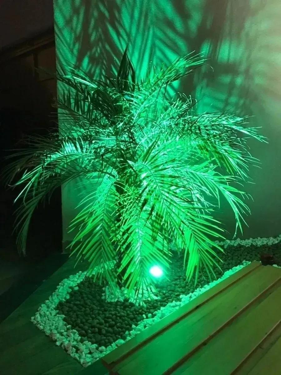 KIT 04 ESPETOS JARDIM LED REFLETOR LUMINÁRIA 7W IP66 VERDE