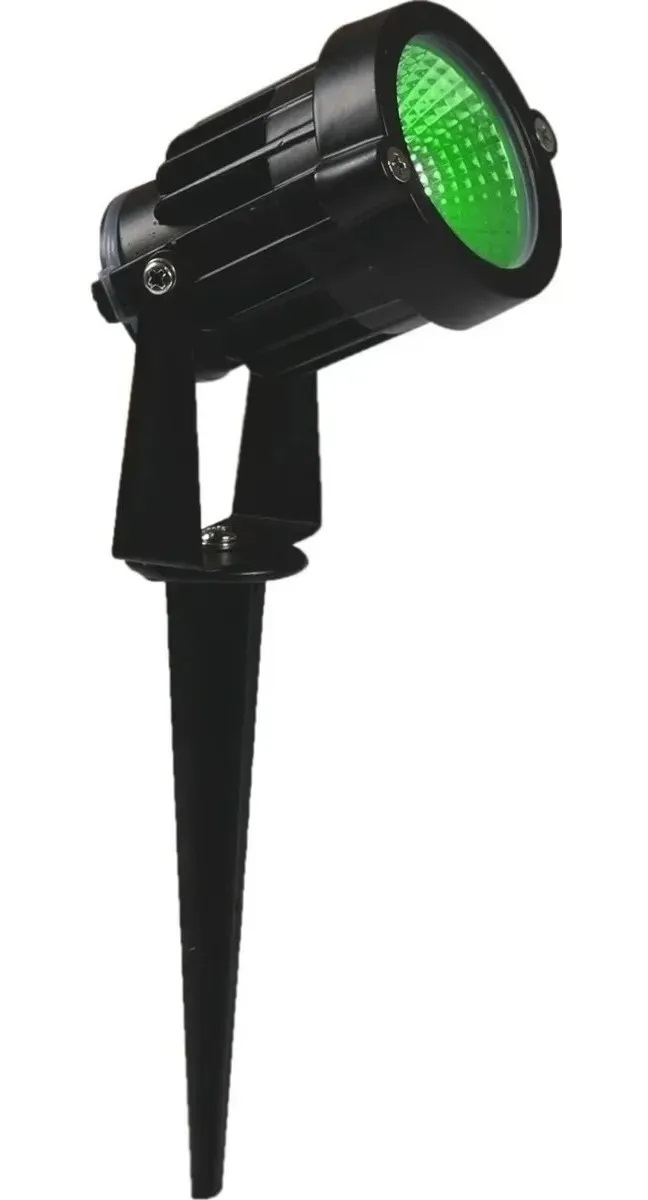 KIT 05 ESPETOS JARDIM LED REFLETOR LUMINÁRIA 5W IP66 VERDE