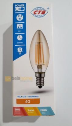 KIT 05 LAMPADA VELA FILAMENTO DE LED E14 2300K 4G 3,2W