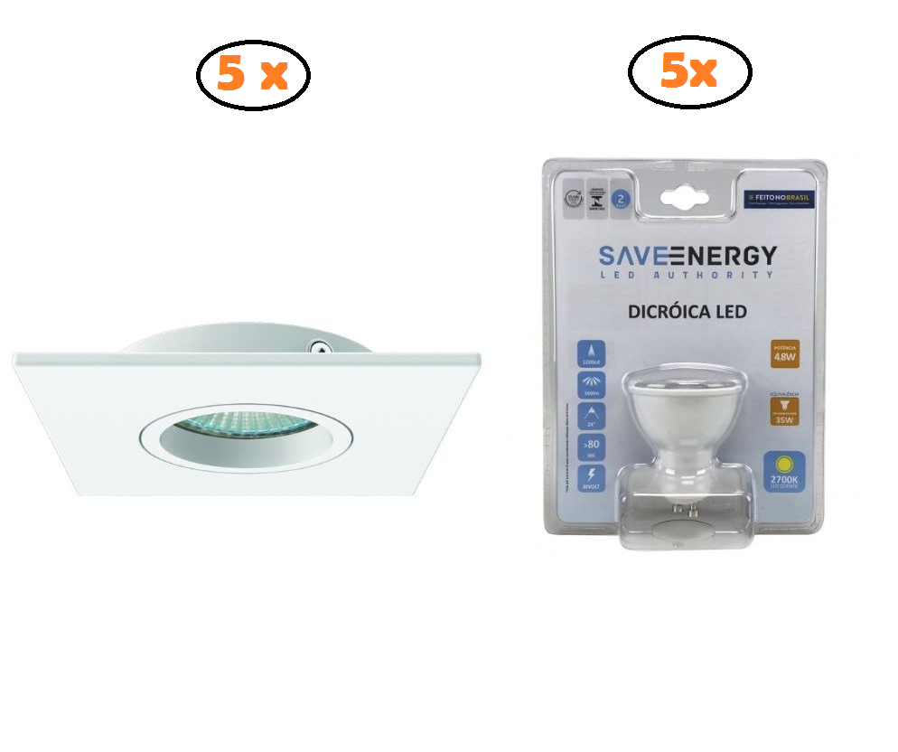KIT 5 DICROICAS INTERLIGHT IL0074 +5 LÂMPADAS SAVE ENERGY 5W