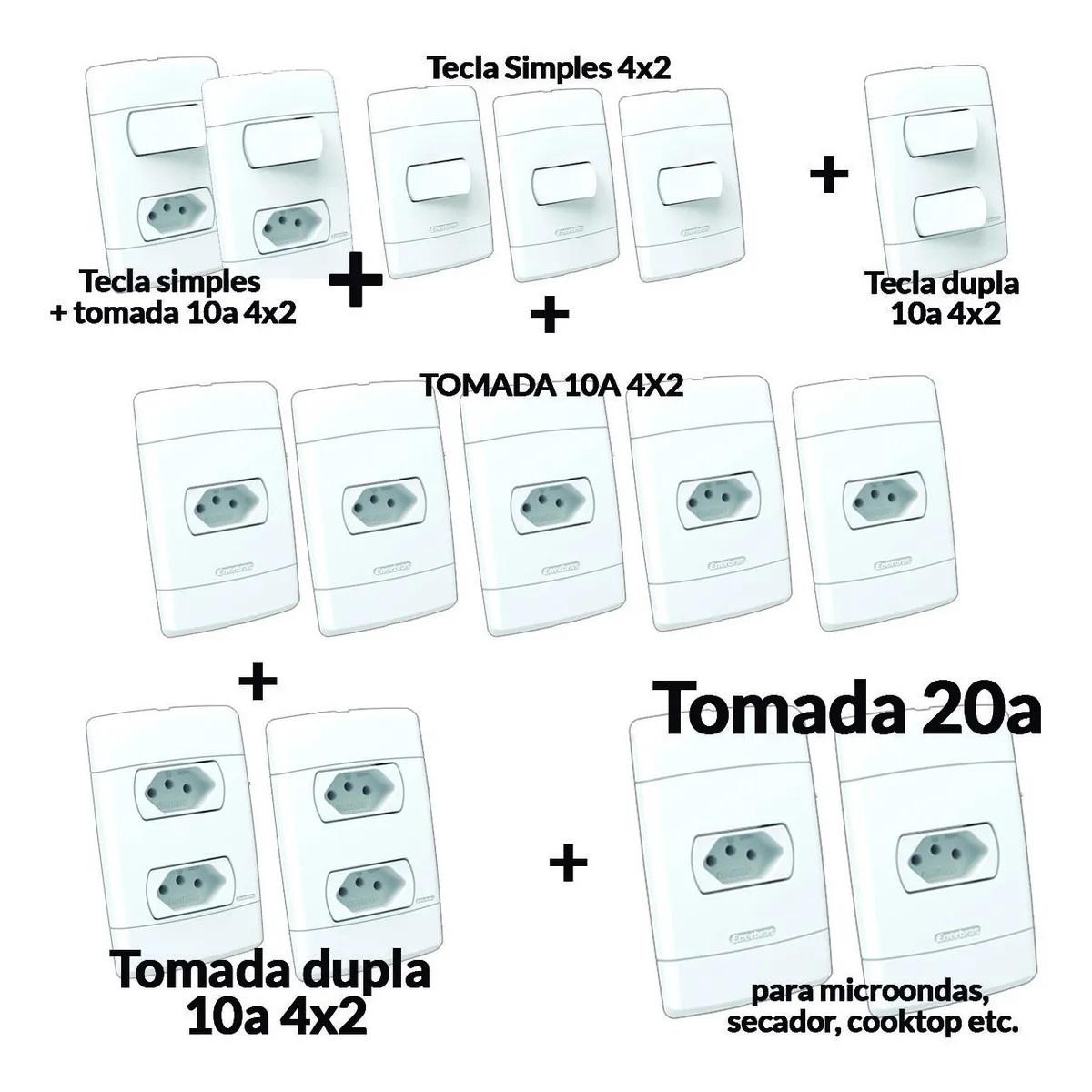 KIT TOMADAS E INTERRUPTORES (15 PEÇAS) CASA COMPLETA ÁRIA