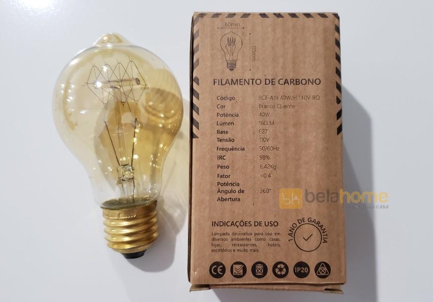 LAMPADA FILAMENTO DE CARBONO A19 E27 40W 110V RETRÔ VINTAGE