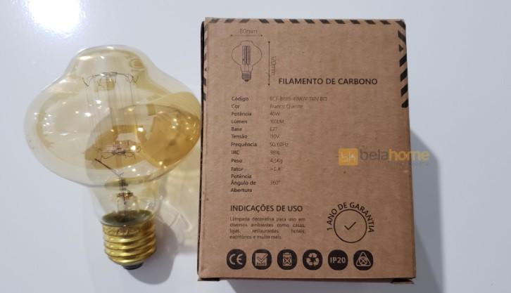 LAMPADA FILAMENTO DE CARBONO BR85 E27 40W 110V RETRÔ VINTAGE