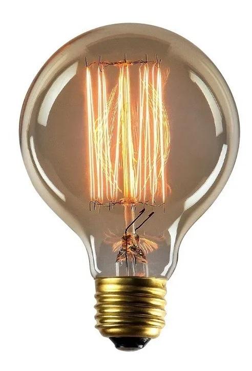 LAMPADA FILAMENTO DE CARBONO G80 E27 40W 110V RETRÔ VINTAGE