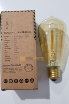 LAMPADA FILAMENTO DE CARBONO ST58 E27 40W 110V RETRÔ VINTAGE