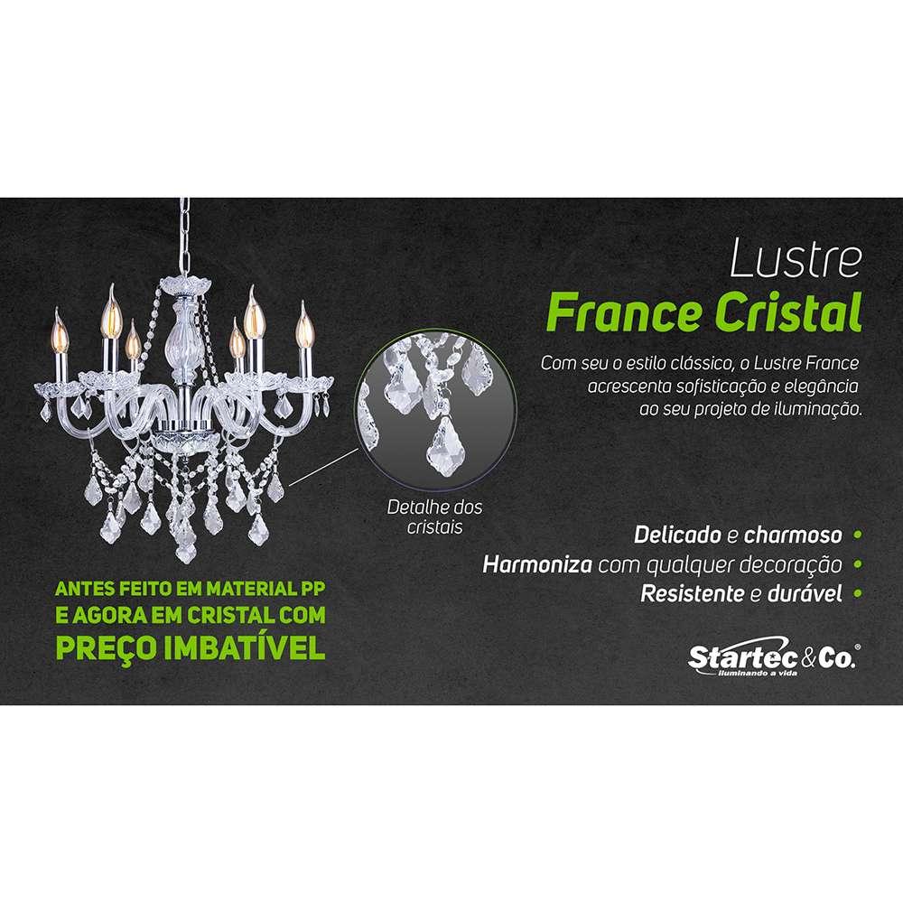 LUSTRE CRISTAL LEGÍTIMO LUMINÁRIA FRANCE 5 BRAÇOS E14 TRANSPARENTE