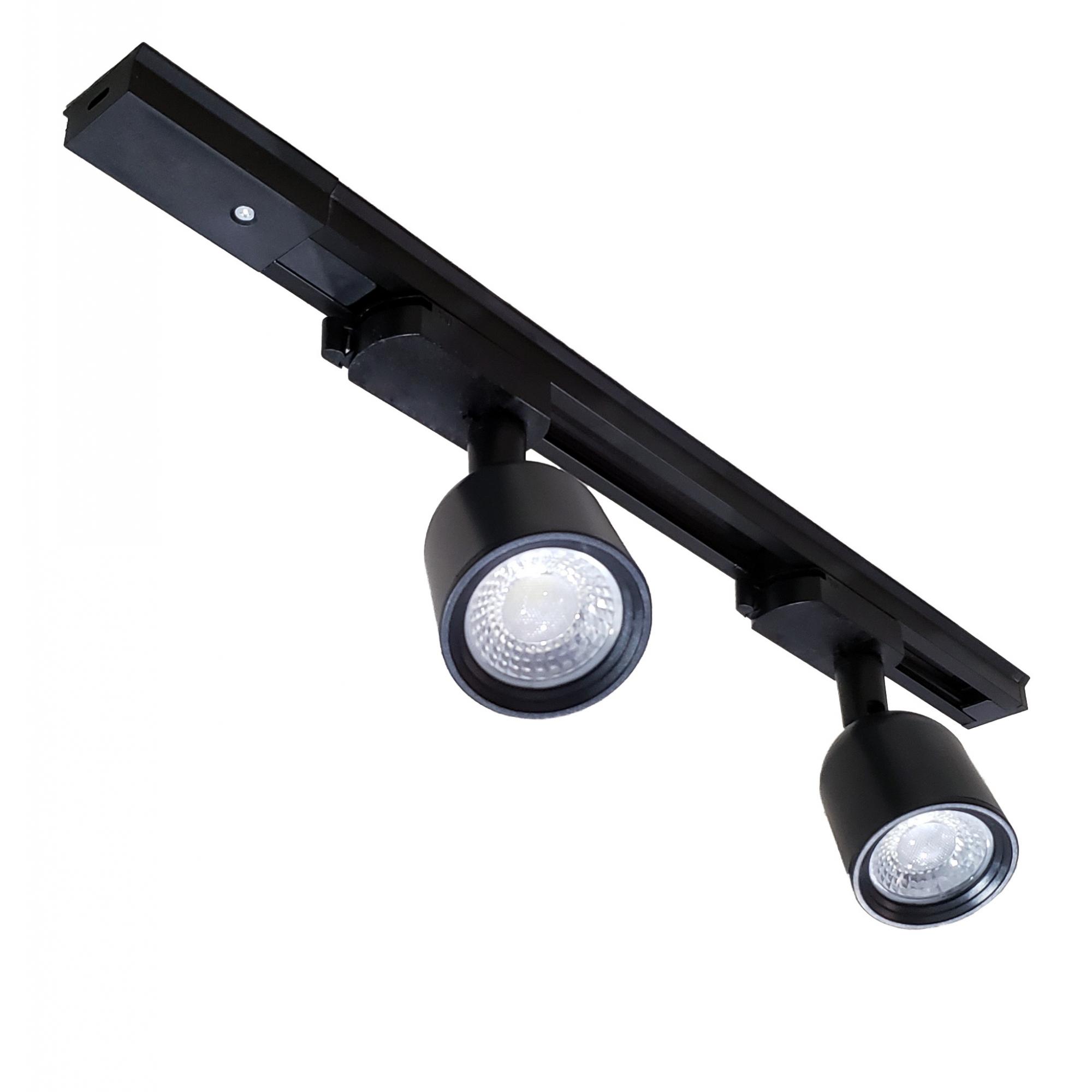 TRILHO ELETRIFICADO 50 CM + 2 SPOTS LED AVANT 7W PRETO 6500K