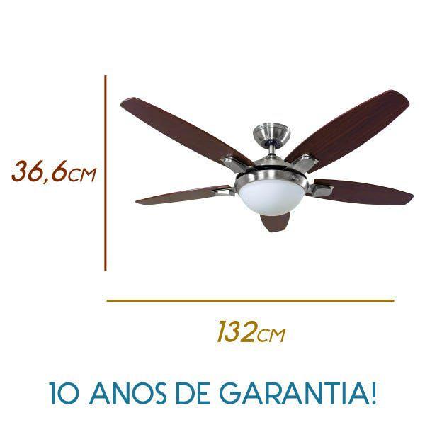 VENTILADOR HUNTER CONTEMPO 5 PÁS NÍQUEL COM NOGUEIRA - 127V