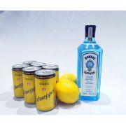 Kit Gin Bombay Sapphire, 6 Tônicas Schweppes, Limão + Especiarias