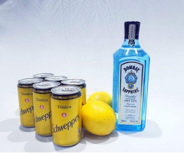 Kit Gin Bombay Sapphire, 6 Tônicas Schweppes, Limão + Especiarias  - Octo em Casa