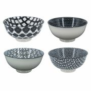 Conjunto de Bowls de Porcelana Preto e Branco