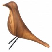 Pássaro De Cerâmica Estilo Madeira
