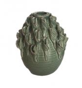 Vaso de Cerâmica Verde com Flores Aplicadas