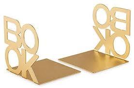 Aparador de Livros de Metal Dourado