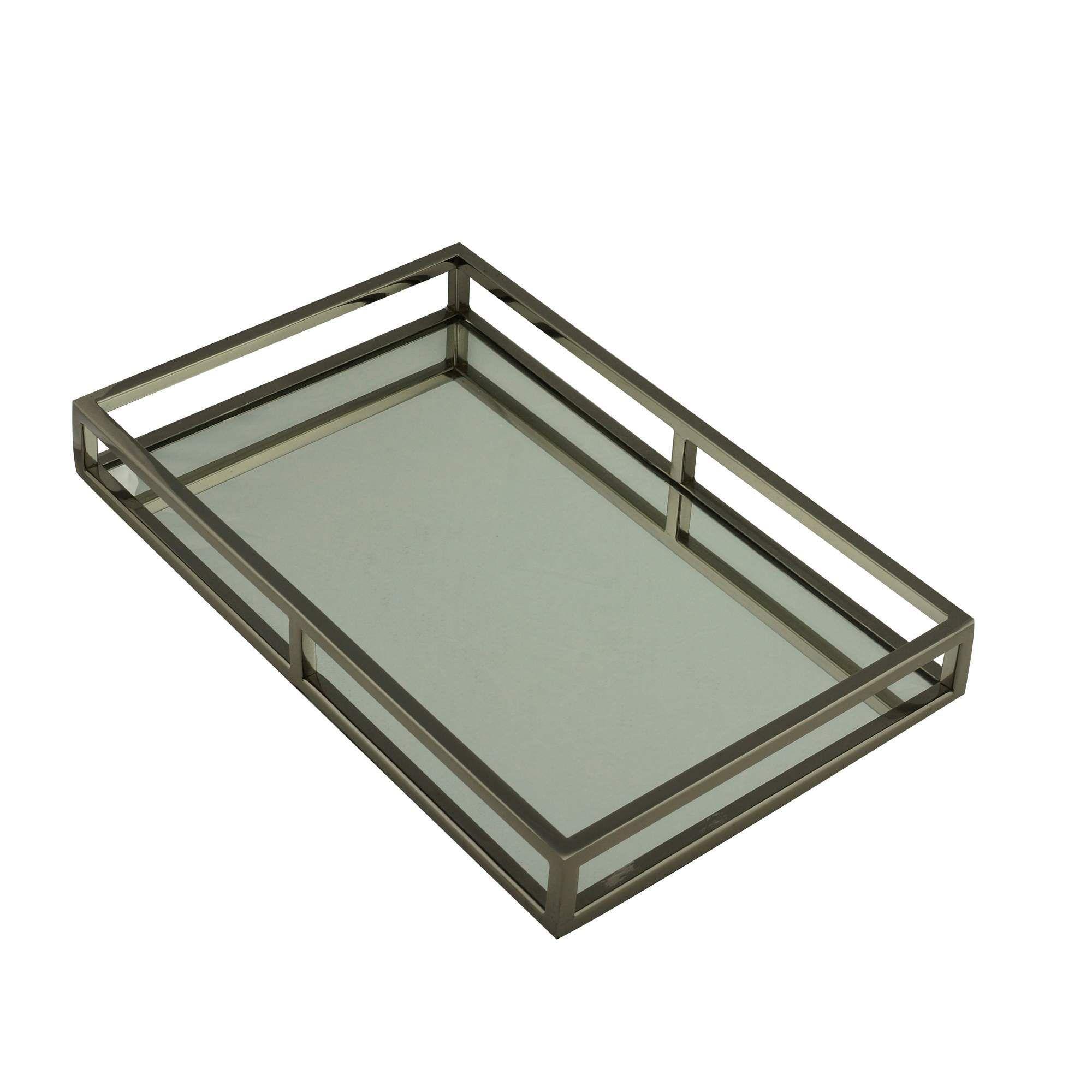 Bandeja de Aço Inox Com Espelho Preta 41x26x5cm