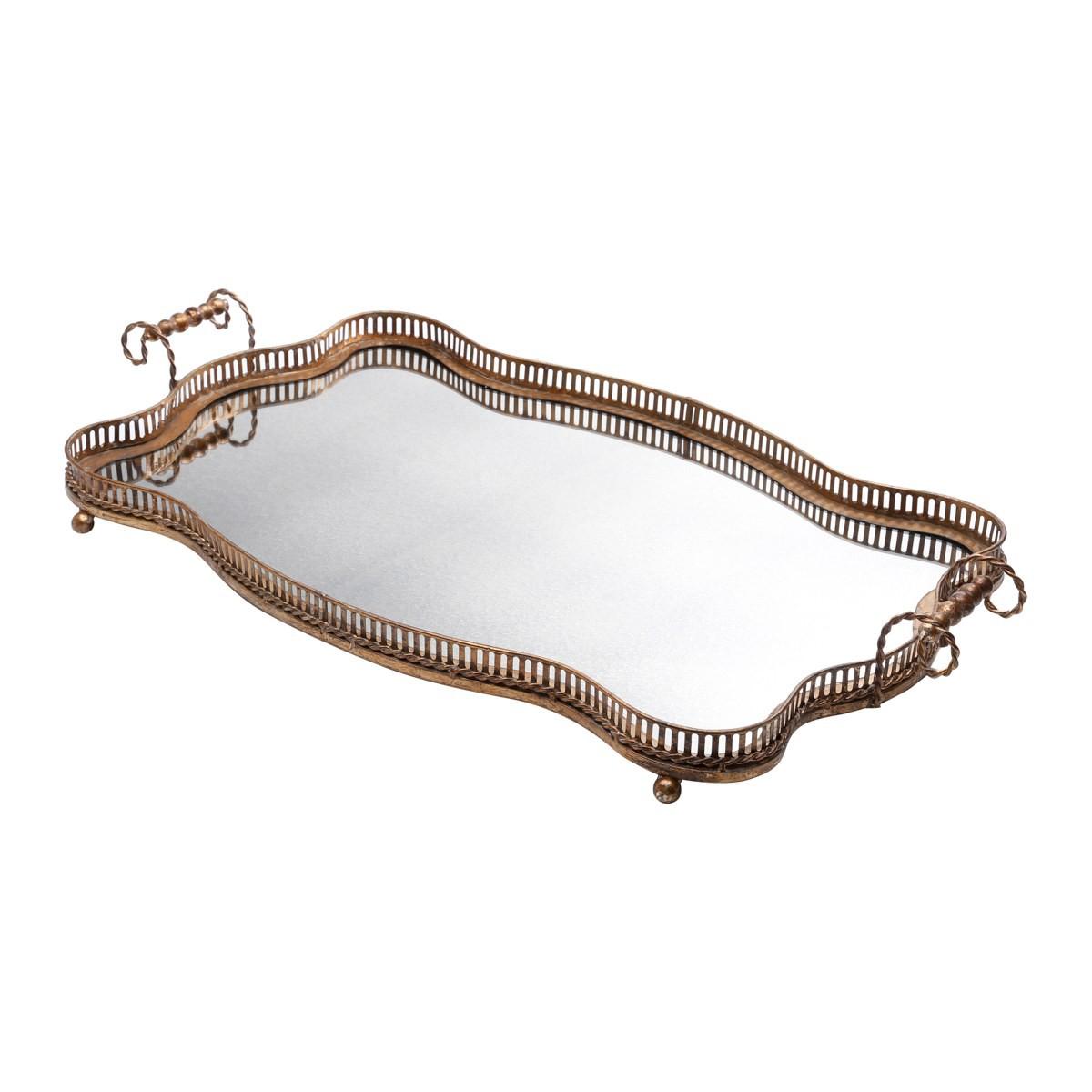 Bandeja de Ferro Bronze e Fundo Espelhado