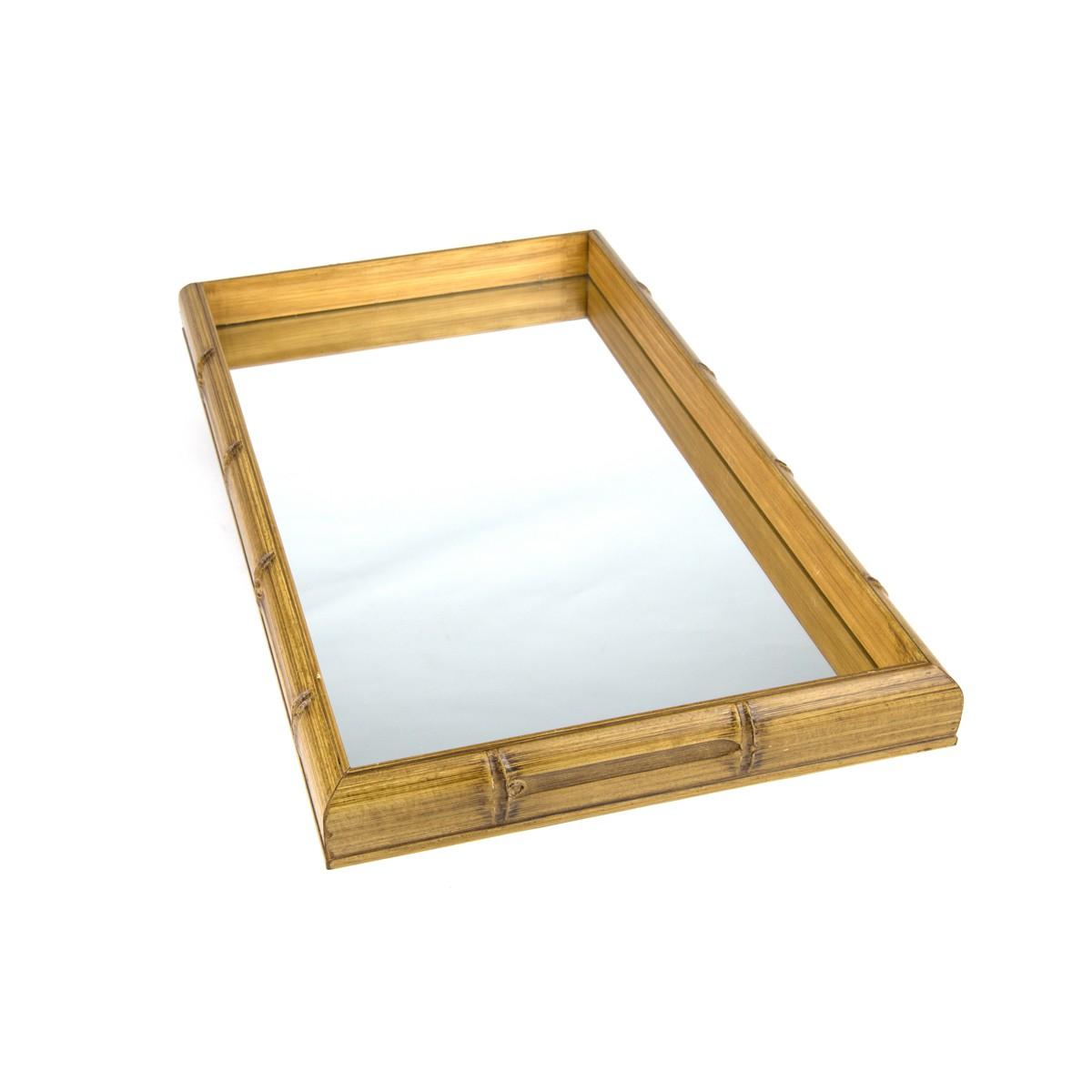 Bandeja de Madeira Com Espelho Bambu  55x35x4cm