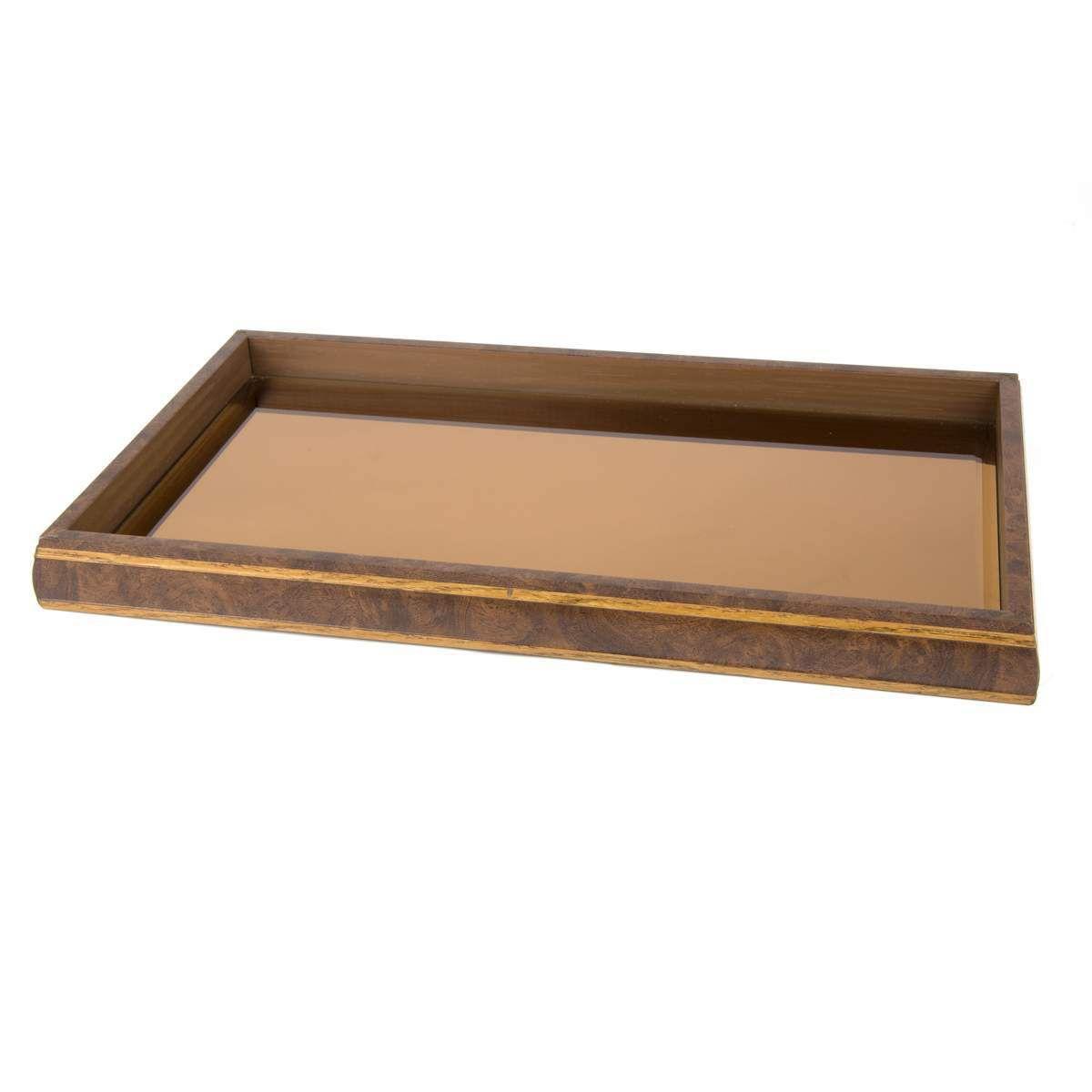 Bandeja de Madeira Com Espelho Bronze