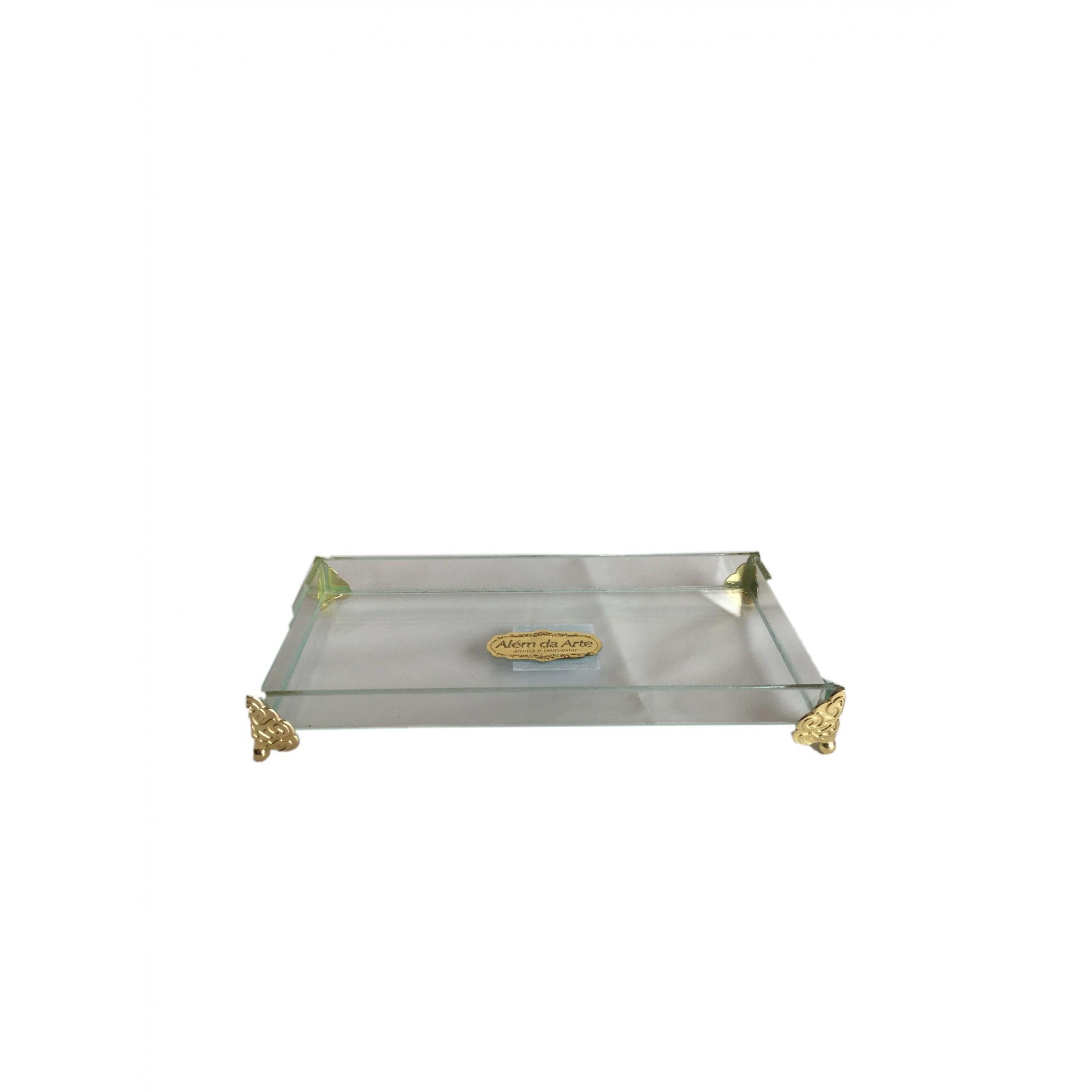 Bandeja de Vidro com Pés de Metal Dourado