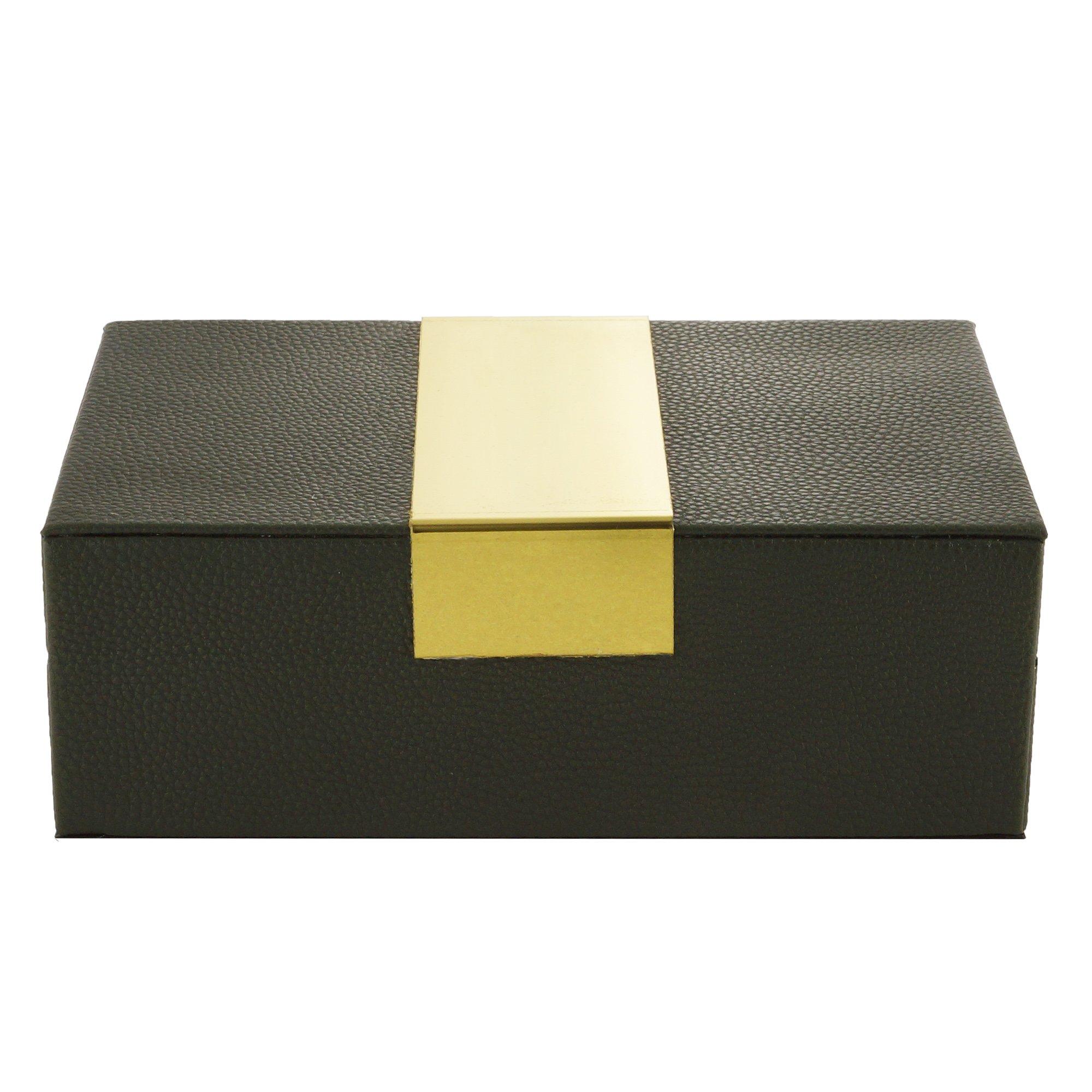 Caixa Decorativa De Corino Verde Escuro