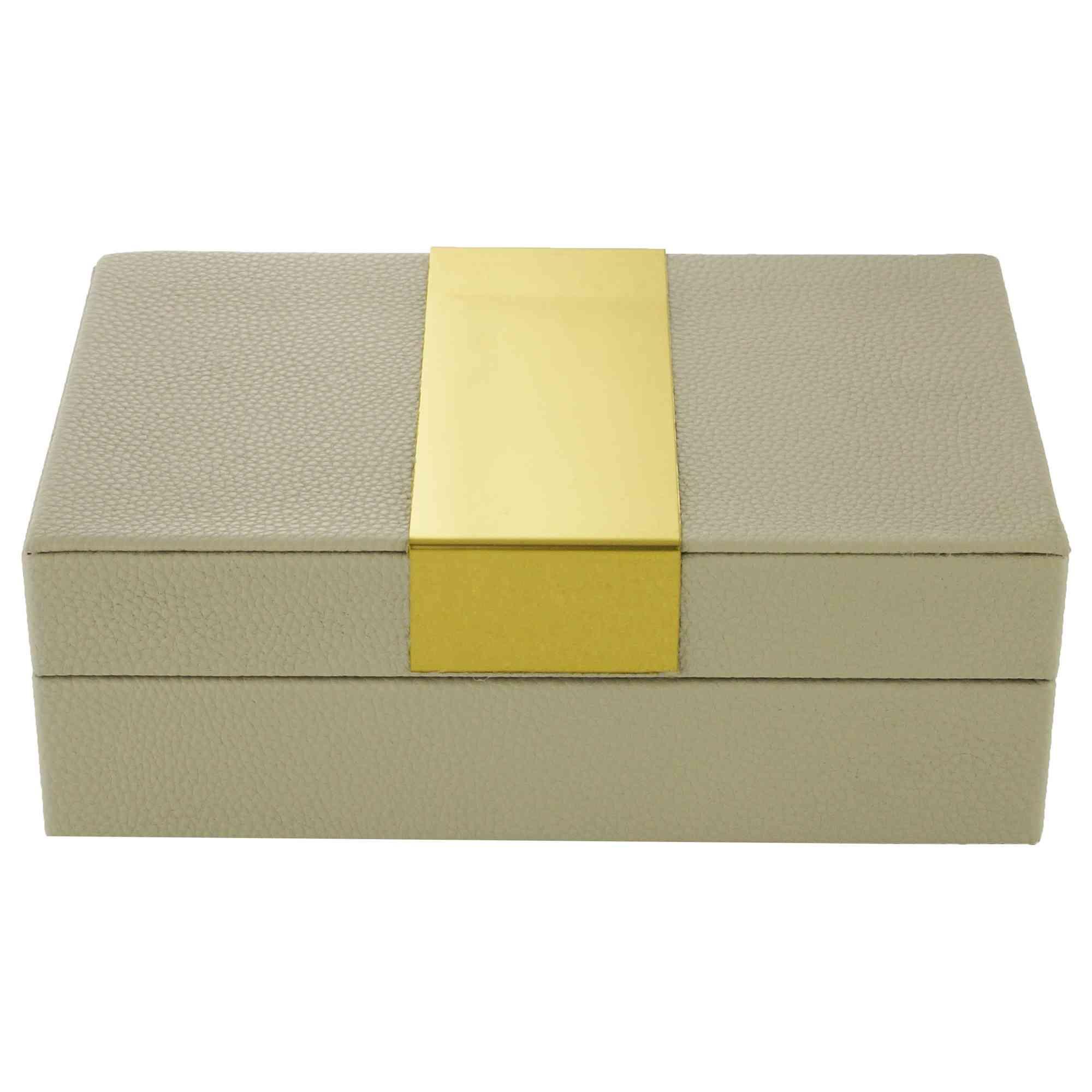 Caixa Decorativa Madeira Courino Cinza