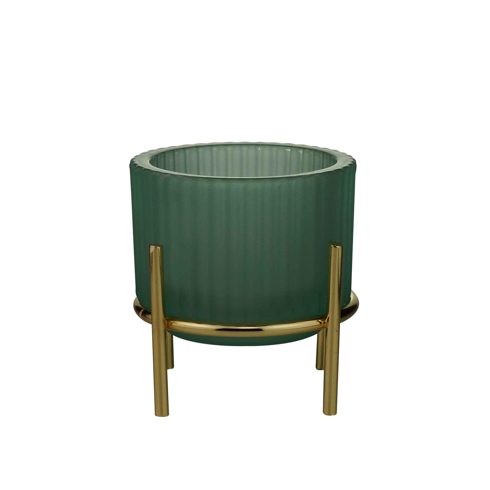 Castiçal De Vidro Verde -10x10cm