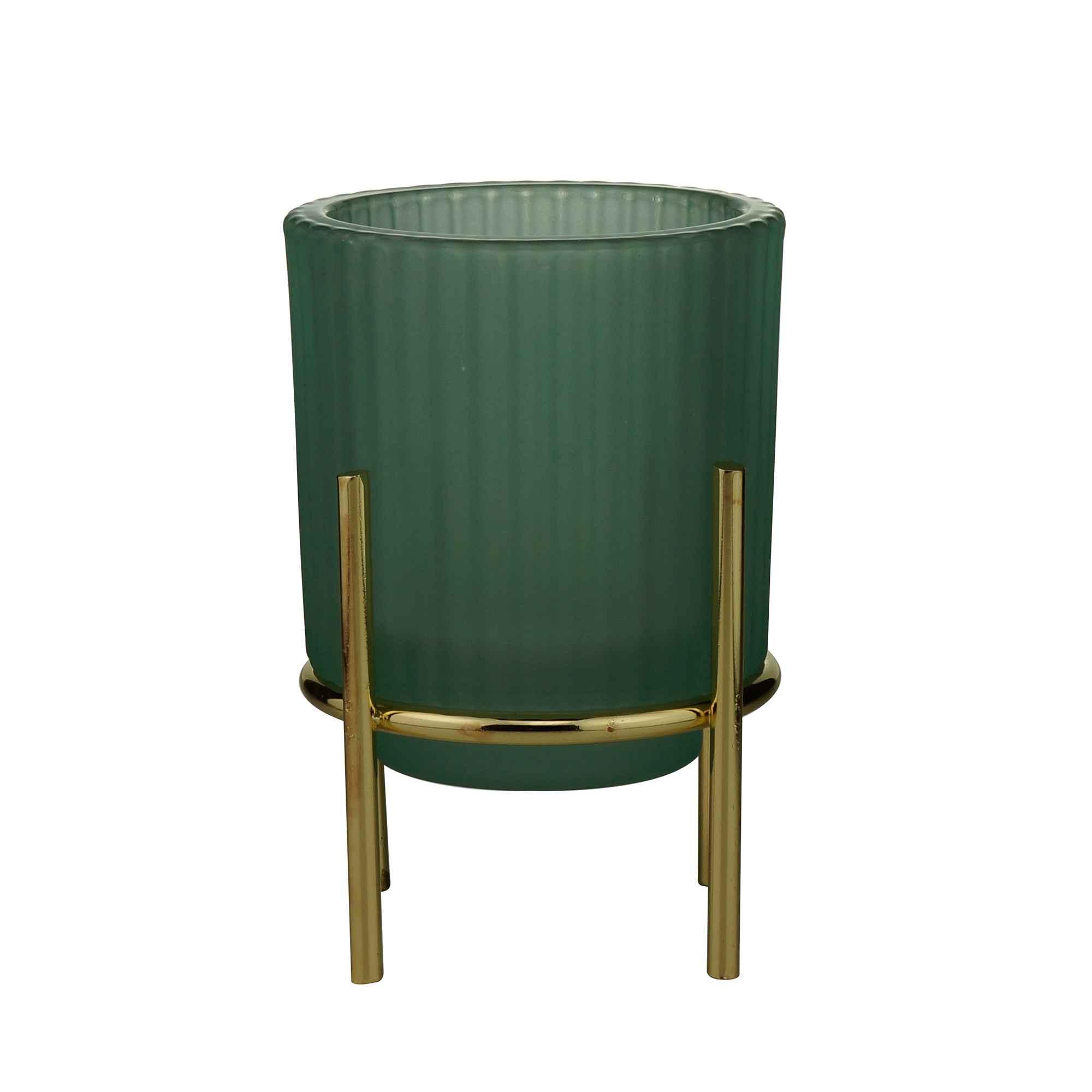Castiçal De Vidro Verde 10x13cm