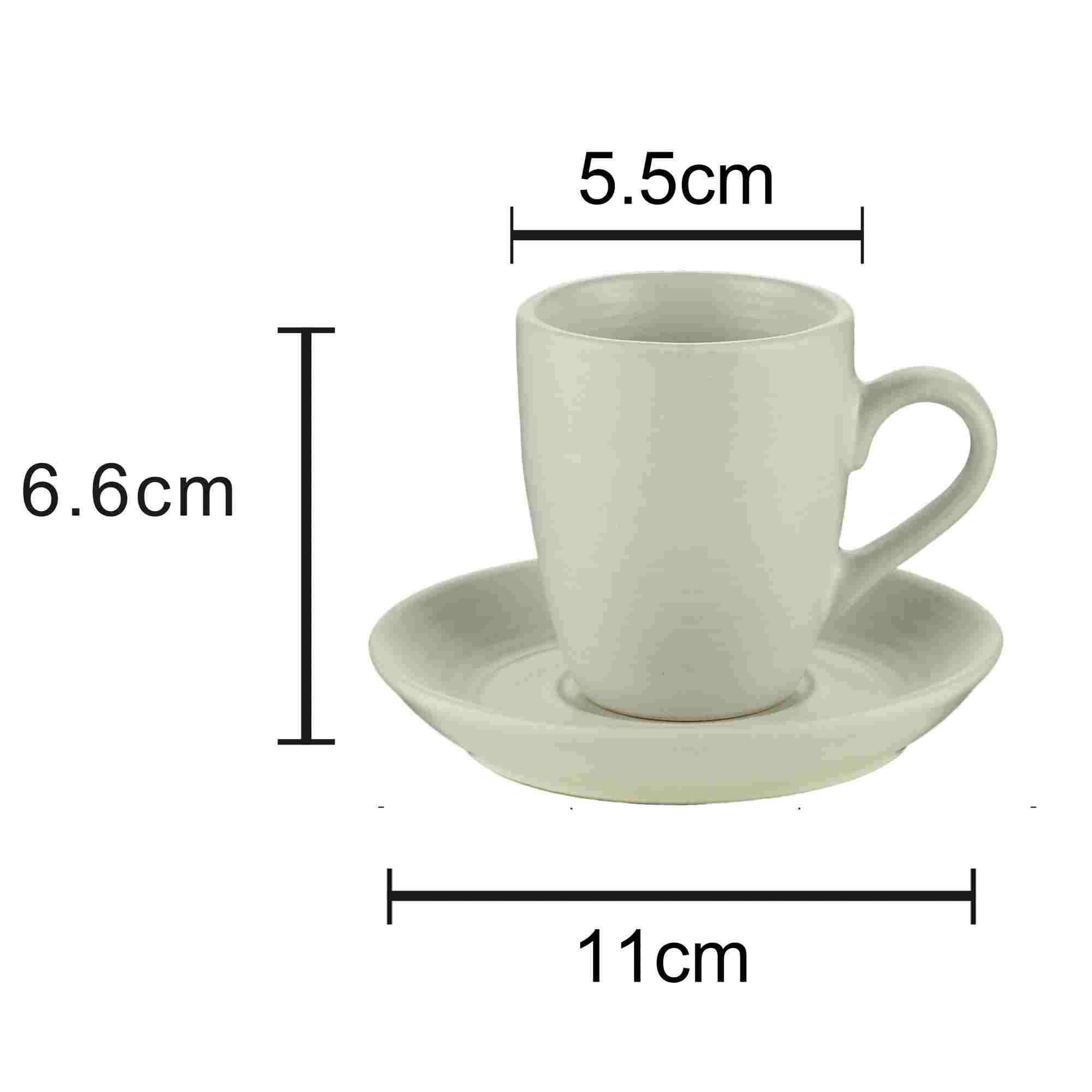 Conjunto de 4 Xícaras Com Pires De Café Off- 90ml