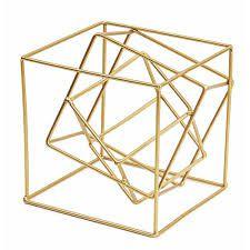 Cubo Dourado Em Metal