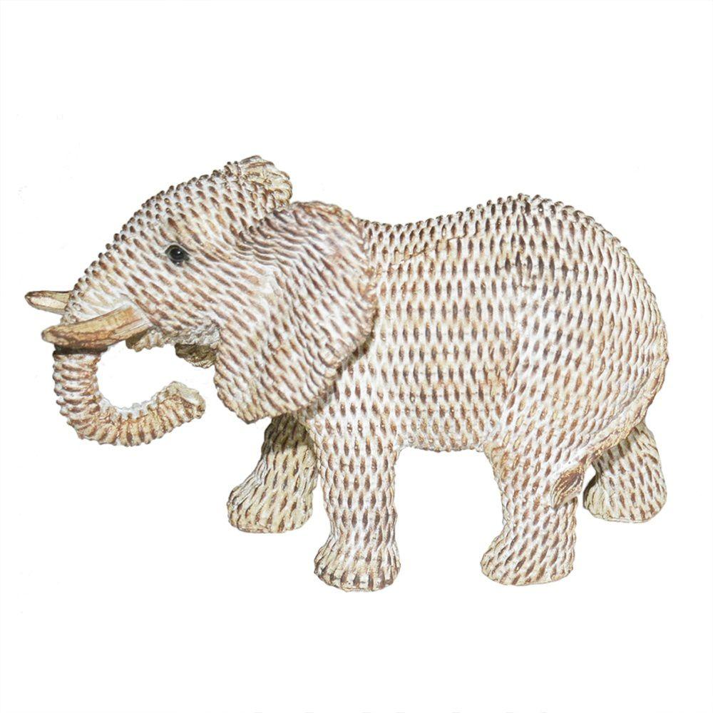 Elefante de Resina Branco e Bronze