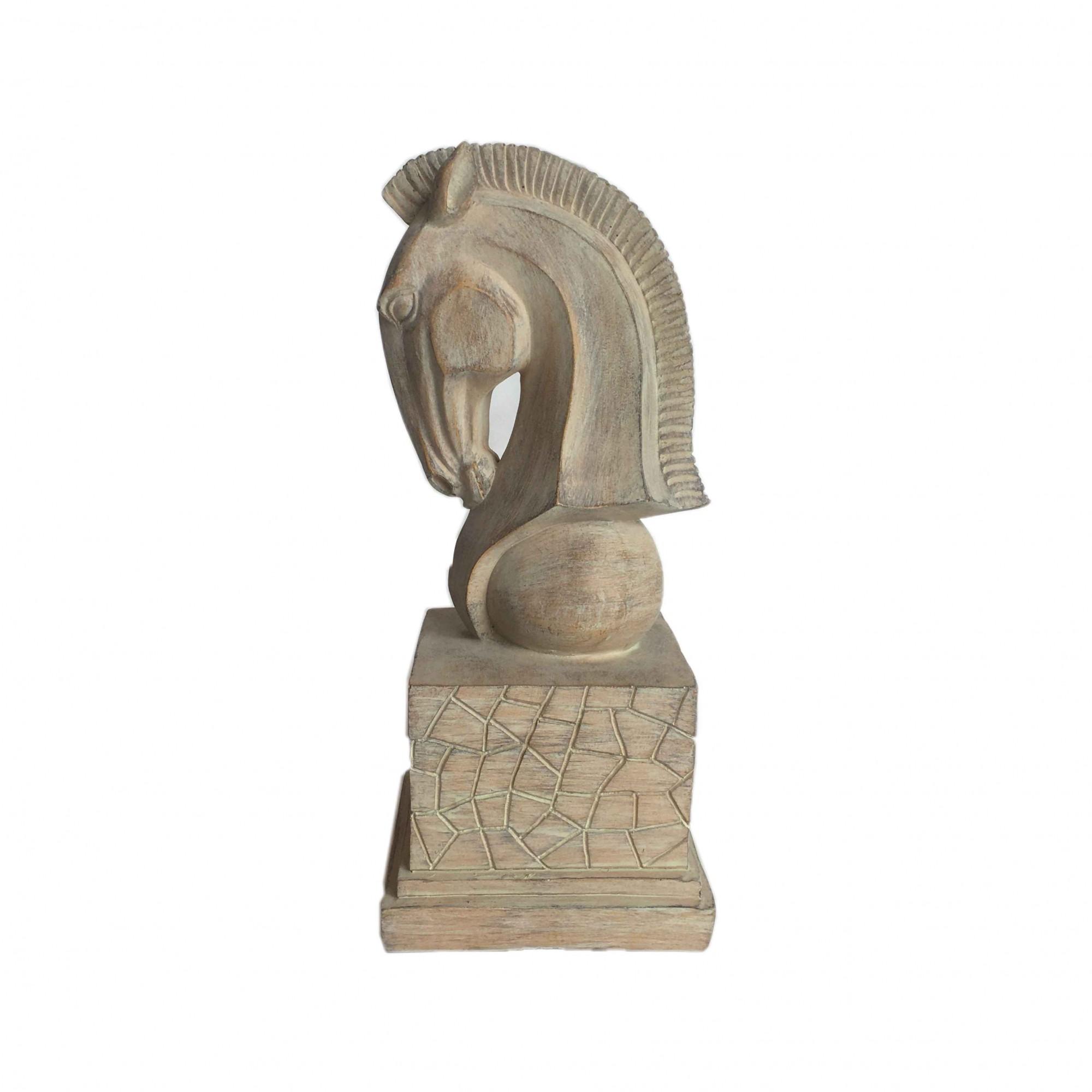Estátua Resina Cabeça de Cavalo 29x12