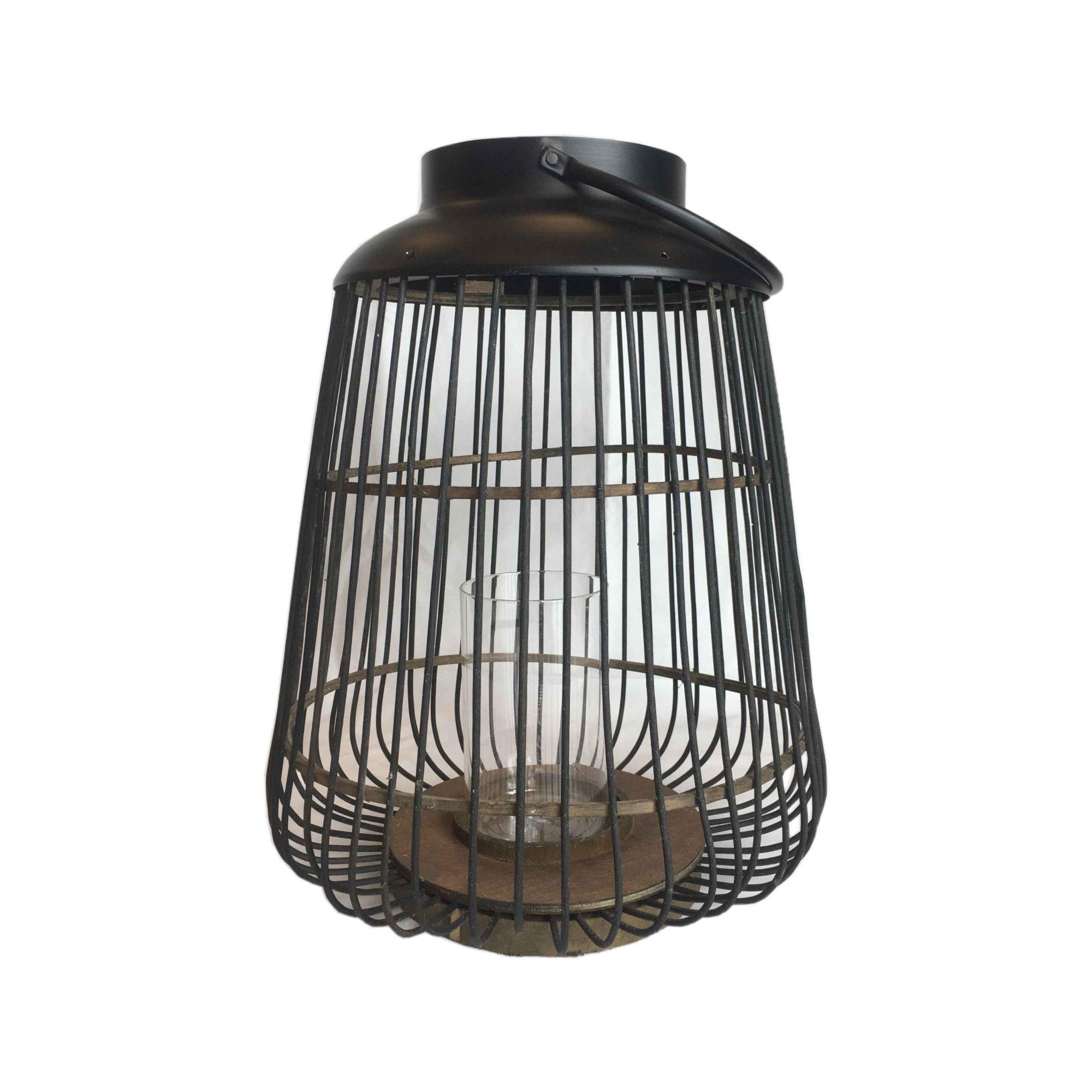Lanterna de Metal com Detalhes em Bambu