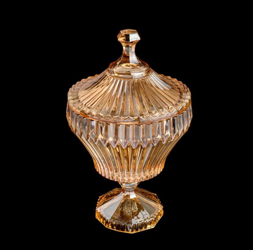 Potiche Com Pé de Cristal Ambar-  17,5x28,5cm