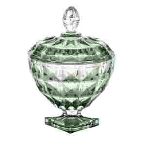 Potiche Decorativo de Cristal Verde 18x24cm