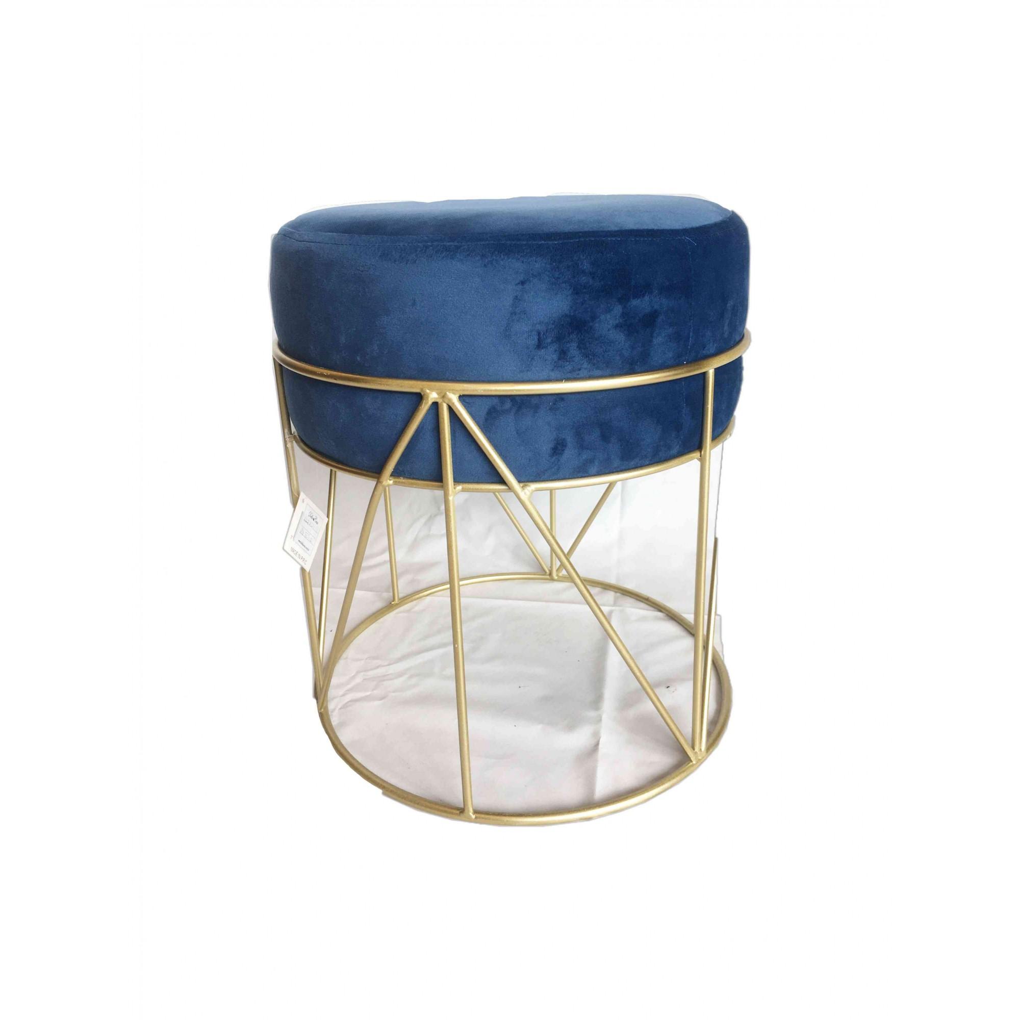 Puff de Veludo Azul em Metal Dourado