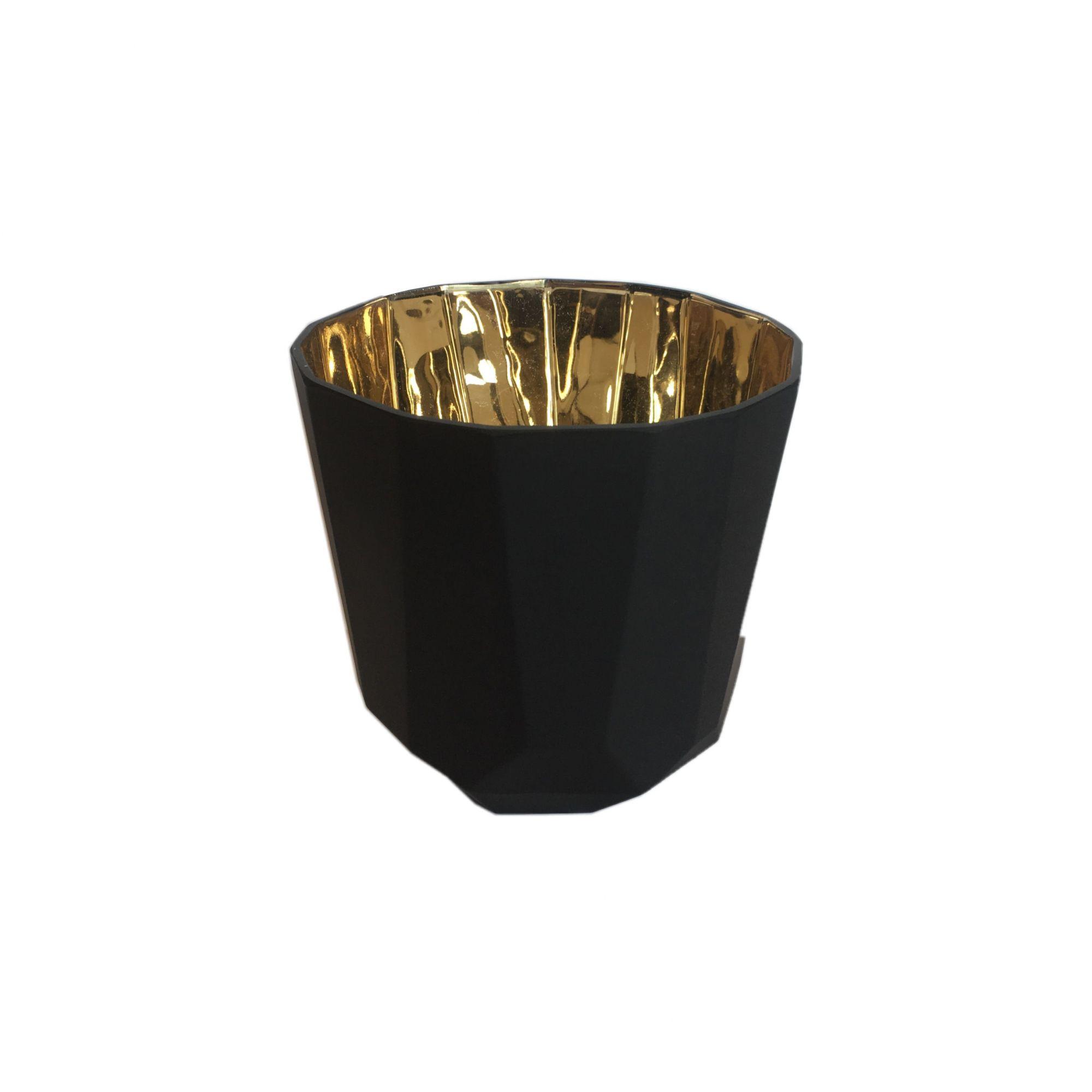 Vaso de Vidro Preto e Dourado