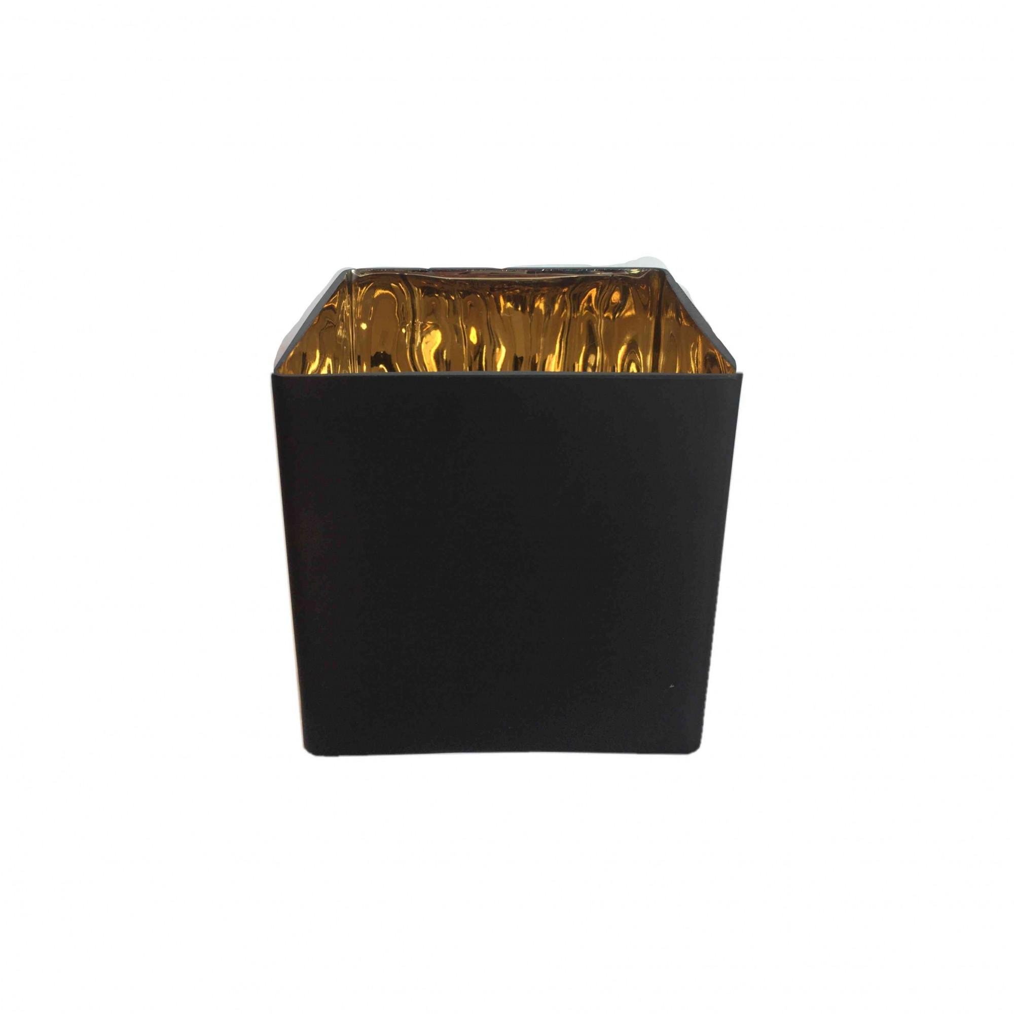 Vaso De Vidro Preto e Dourado Quadrado